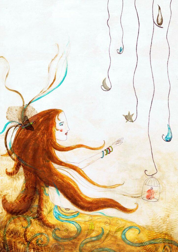 Illustration de Galou - un femme aux cheveux roux tendant la main vers des mobiles